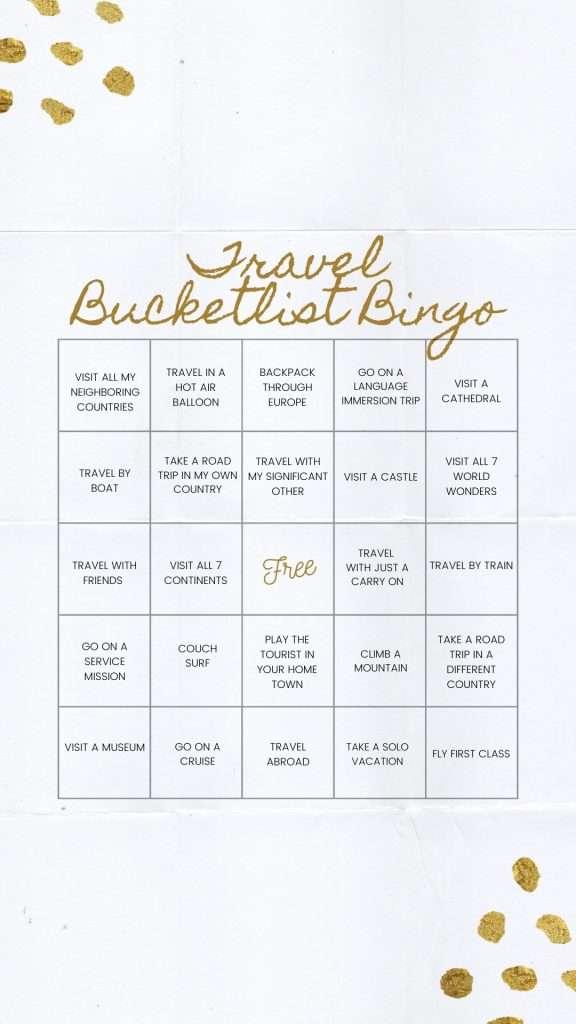 Travel Bucket List Bingo